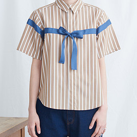I am I - ○STRIPE RIBON SHIRTS