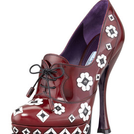PRADA - Flower Applique Lace-Up Pump
