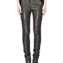 ALEXANDER WANG - DISTRESSED STRETCH LEATHER JEANS