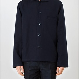 LEMAIRE - SPREAD COLLAR SHIRT DOUBLE COTTON WOVEN IN ITALY  MIDNIGHT BLUE