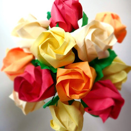 DearBetsy - Golden Sunset Petite Origami Roses