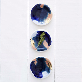 redravenstudios - Canyon Series: Glacier Hand Painted Porcelain Small Dipping Plates with 14K Gold Luster- Set of 4