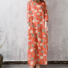 dress - Loose large size Long maxi dress Women Robe gown