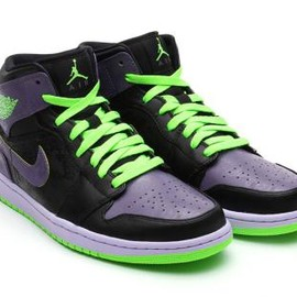 Nike - NIKE AIR JORDAN 1 RETRO MID BLACK/ELECTRIC GREEN-CANYON PURPLE-WHITE