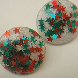 VINTAGE - 50's lucite star lame earring
