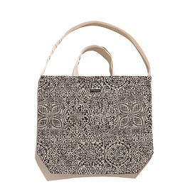 ENGINEERED GARMENTS - Carry All Tote-Rug Jacquard-Navy×Natural Geo