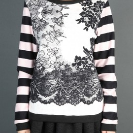 MSGM - 2013/AW■BOATNECK SWEATER WITH STRIPED SLEEVES AND FLORAL BODY PRINT 1