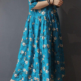 Flower dress - Blue print dress Maxi dress Women dress oversized dress Flower dress summer dress Long Linen Dress