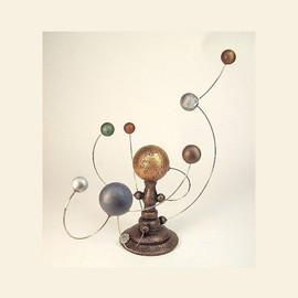 9 Space Bodies Big Orrery Miniature Alien Sun and Planet System in Wood Table Sculpture