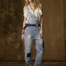 RALPH LAUREN Denim & Supply - Striped Repaired Denim Overall
