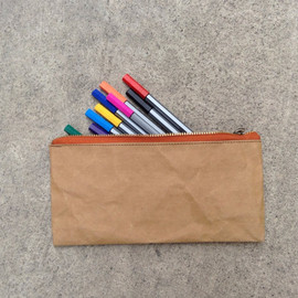 Belltastudio - Kraft fabric paper pouch bag zipper pencil case