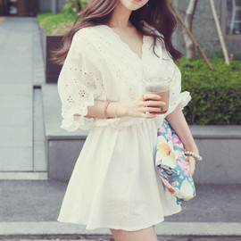 Elegant Lace With Floral White High Waist Dress