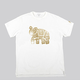 ENGINEERED GARMENTS - Printed Cross Crew Neck T-shirt-Elephant-White