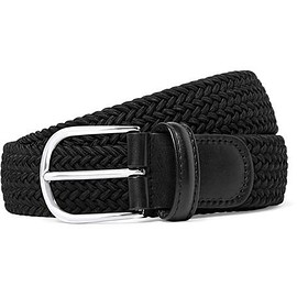 Anderson's - 3.5cm Black Leather-Trimmed Woven Elastic Belt