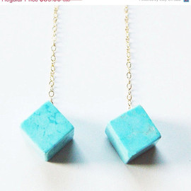 friedasophie - CIJ SALE Turquoise Cube Geometric Earrings - 14k Gold Fill