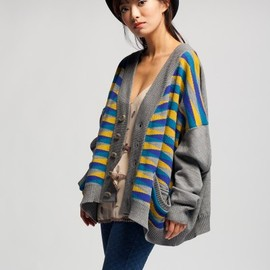 ANREALAGE - slouchy striped cardigan