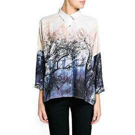 fashion - [grxjy560894]Landscape Print Button Down Shirt Top Loose Fit Blouse