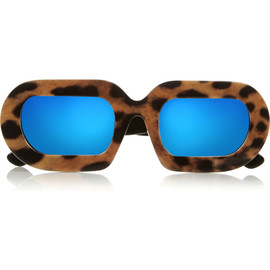 HOUSE OF HOLLAND - Eggy leopard-print acetate mirrored sunglasses