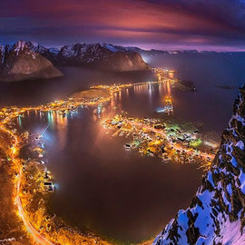 Lofoten, Norway - Glow of city lights
