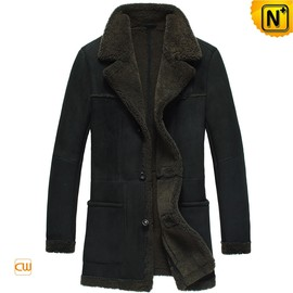 cwmalls - Copenhagen Mens Black Lamb Fur Lined Coat CW878261