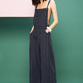Chloe Sevigny for Opening Ceremony - Pinstriped Tie-Front Cropped Overalls