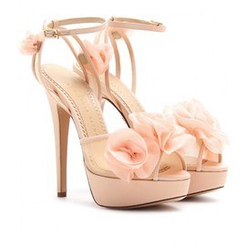 Charlotte Olympia - FLEUR PLATFORM SANDALS WITH ORGANZA FLORAL EMBELLISHMENT