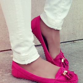 / - hop pink tasseled loafers.