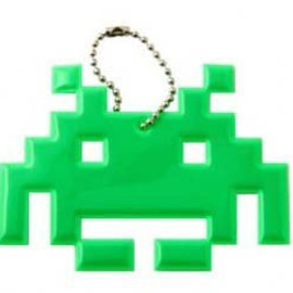 Green Space Invader Keychain