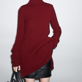 CELINE - Bias Cashmere Rib Bordeaux Turtleneck Tunic-Dress