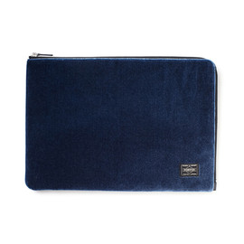 "HEAD PORTER - ""VELOURS"" DOCUMENT CASE BLUE"
