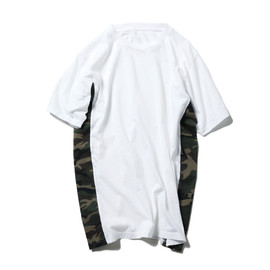 SOPHNET. - FABRIC MIX TEE (FLANNEL CAMOUFLAGE)