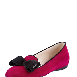 PRADA - Suede Hidden Wedge Bow Smoking Slipper, Fuchsia