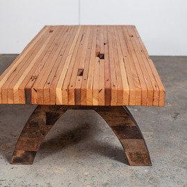 PecanWorkshop - reclaimed wood bolted slab coffee table
