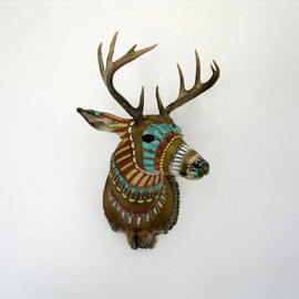 Cassandra Smith - Hand-painted Taxidermy Deer Head