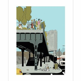 """Adrian Tomine - IN THE CITY / POSTER """"Saturday in the Park"""""""