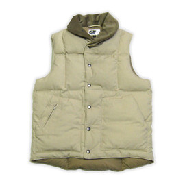 Engineered Garments - Shawl Collar Down Vest Khaki NYCO Ripstop