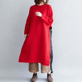 Knitted Dress, loose dress - Knitted Dress, loose dress Women, midi dress, Bottoming dress