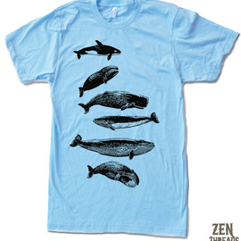 Men's WHALES t shirt american apparel S M L X L (13 Colors Available)