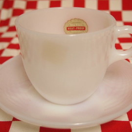 Fire King - White 1700 Line St Denis Cup & Saucer (67)