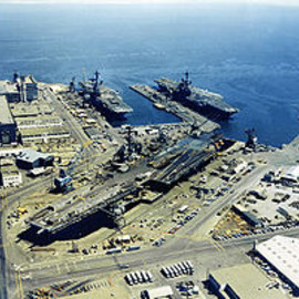 USA - Hunters Point NS with three carriers 1971