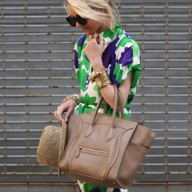 street - Floral printed dress ×celine bag