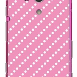 SECOND SKIN - ドットストライプ ピンク×ホワイト (ソフトTPUクリア) / for Xperia acro HD IS12S/au