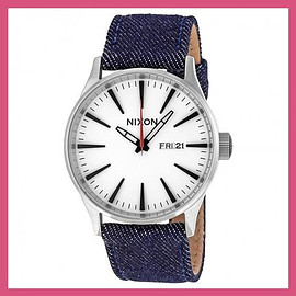 nixon - ニクソン Sentry Cream Dial Denim Strap Men's Watch メンズ 腕時計