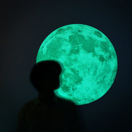 i3Lab - The Moonlight sticker /L-size, CLAIR DE LUNE (glow in the dark moon wall-sticker-50cm)