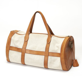 HERMES - Leather Trimed Canvas Boston Bag