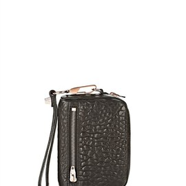 ALEXANDER WANG - Fumo Large Wristlet In Pebbled Black With Rose Gold Thumb