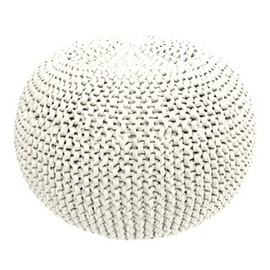 Knitted Pouf White