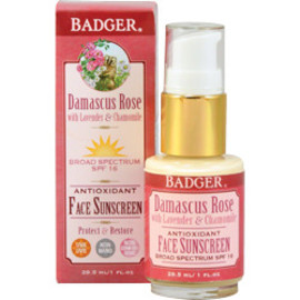 Badger Balm - damascus rose SPF 16 face sunscreen lotion