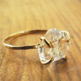 Melissa Joy Manning - Herkimer Diamond Solitaire Ring - 14k Gold