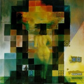 Salvador Dali - Gala Contemplating the Mediterranean Sea Which at Twenty Meters Becomes the Portrait of Abraham Lincoln - Homage to Rothko (first version)